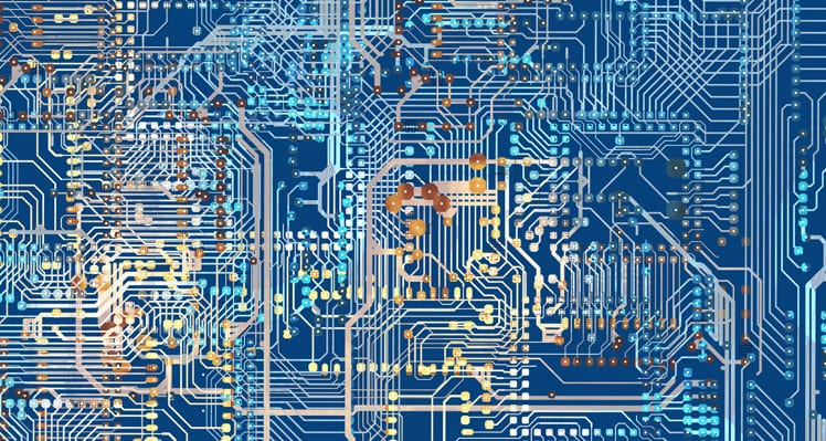 Colorful Circuit Board Background Illustration. Circuit Connections.
