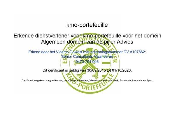 Certificaat KMO Portefeuille
